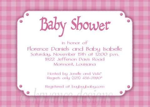pink gingham invitation/announcement