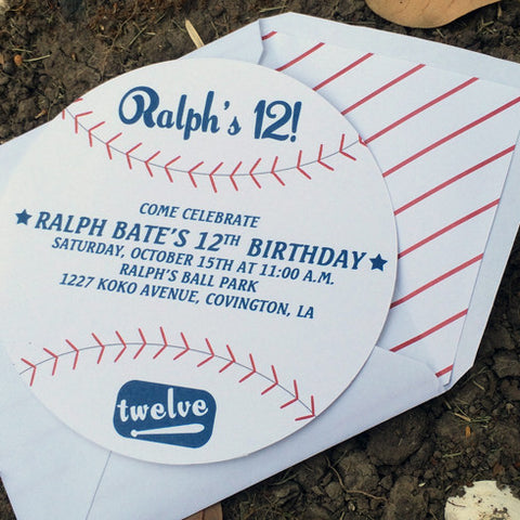 die cut baseball invitation