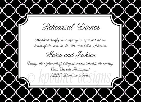 black and white quatrefoil invitation/announcement