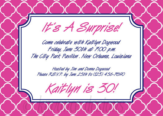 fuchsia and navy quatrefoil invitation/announcement
