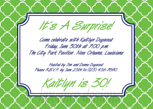 green and navy quatrefoil invitation/announcement