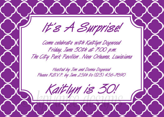 purple and white quatrefoil invitation/announcement