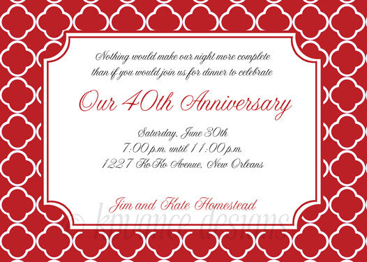 red and white quatrefoil invitation/announcement