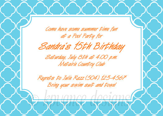 aqua and white quatrefoil invitation/announcement