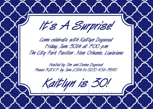 navy and white quatrefoil invitation/announcement
