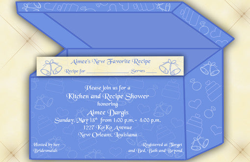 recipe box kitchen shower invitation with recipe card