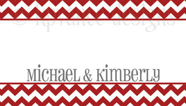 personalized red and white chevron gift tag