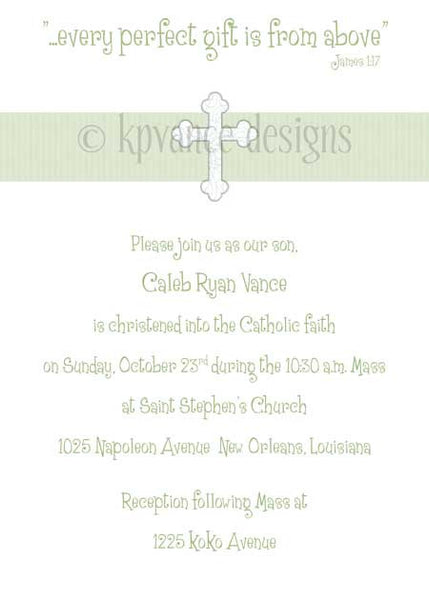 green ribbon cross invitation/announcement