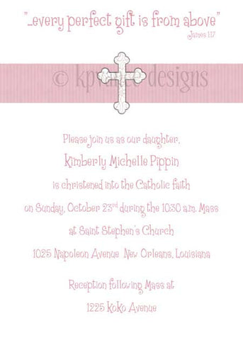 pink ribbon cross invitation/announcement