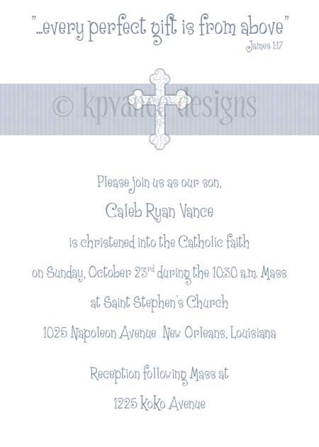 blue ribbon cross invitation/announcement
