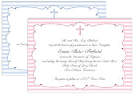 ribbons and stripes cross baptism/communion invitation/announcements