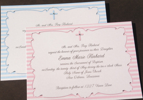 Shimmer Ribbons and Stripes with Embellished Cross Invitation