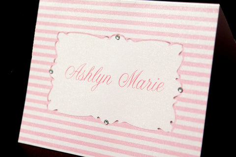 pink and white stripe personalized note cards with rhinestone embellishment