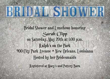 "New Orleans street tile ""Bridal Shower"" invitation"