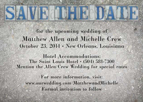 New Orleans street tile save the date card