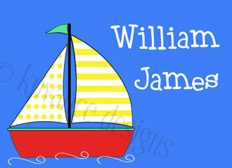 personalized baby sailboat note cards