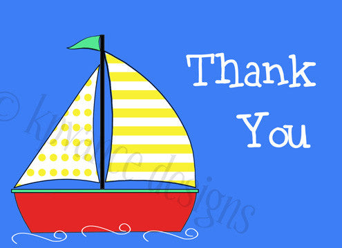 baby sailboat thank you card