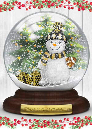 Saints Black & Gold Snowman Card