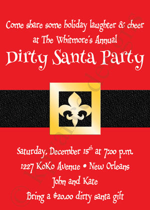 fleur de lis santa belt Christmas invitation