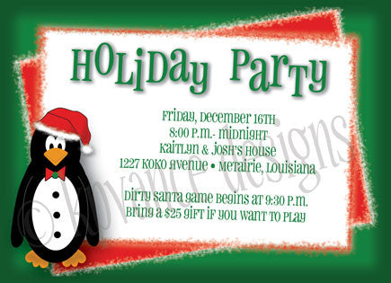 Santa penguin holiday party invitation/announcement