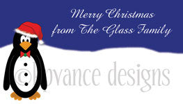 Santa penguin personalized gift tags
