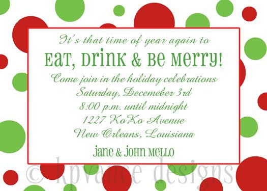 red and green polka dot Christmas invitation/announcement