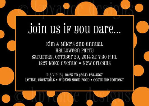 black and orange halloween polka dot invitation/announcement