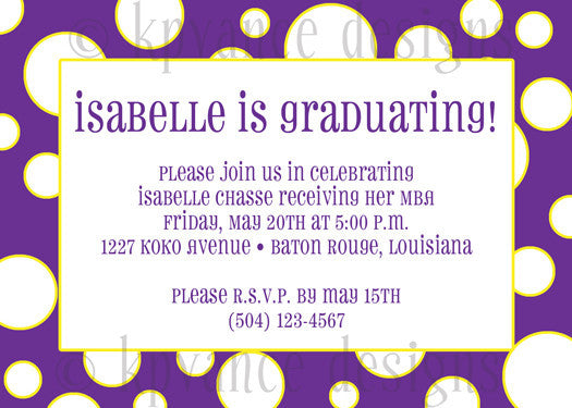 purple and gold polka dot invitation/announcement