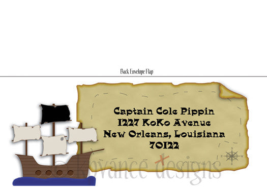 pirate ship and map decorative envelopes and return address