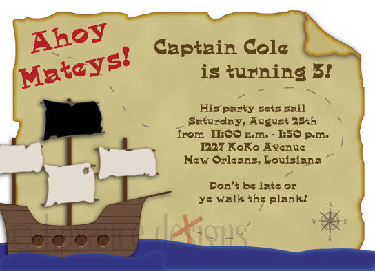 pirate ship and map party invitation