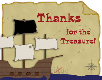 pirate ship and treasure map thank you note