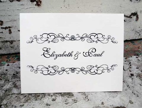 personalized note cards with flourish design