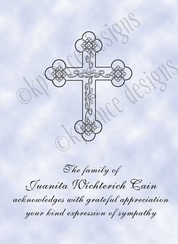 personalized funeral thank you cards cross with sky background