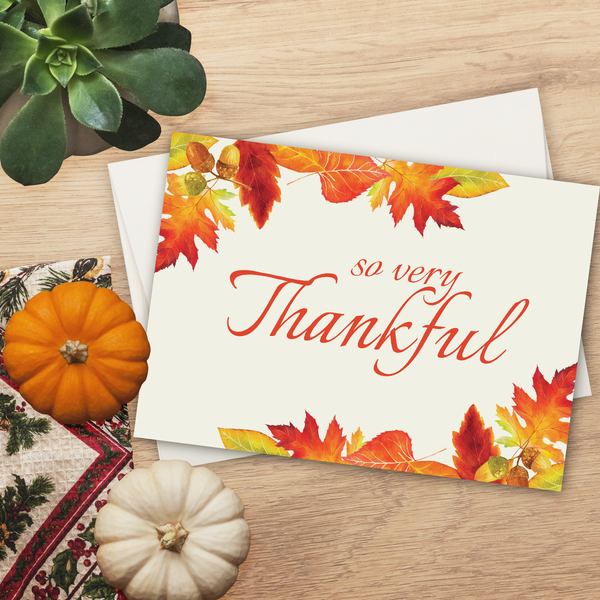 So Very Thankful Fall Leaves Greeting Card