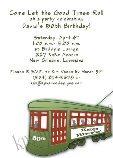 New Orleans streetcar invitation/announcement