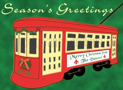 Season's greetings New Orleans Streetcar Christmas card