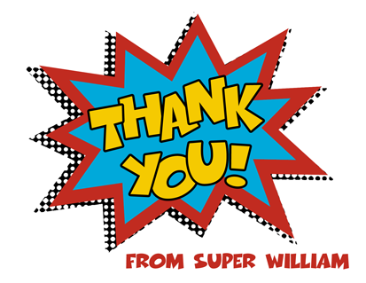 Super Hero Thank You Note Cards