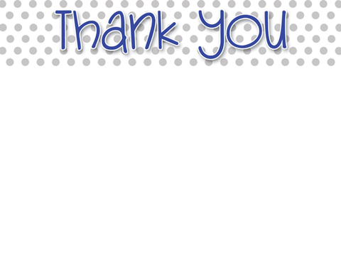 navy and grey thank you correspondence cards