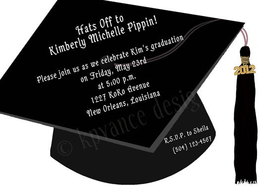 graduation cap invitation/announcement