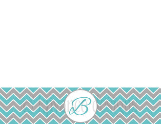 teal and grey chevron initial note card