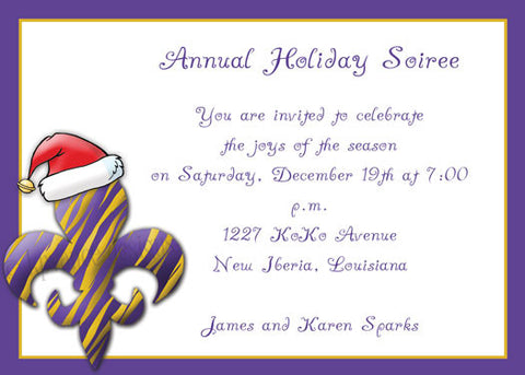 purple and gold tiger fleur de lis Santa Christmas invitation/announcement