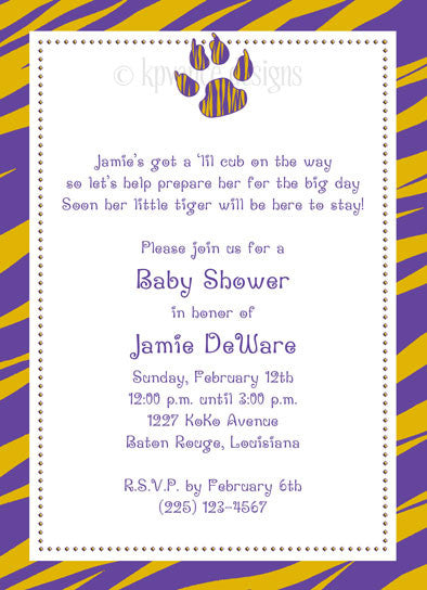 purple and gold tiger paw print invitation/announcement