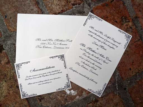 wrought iron fleur de lis wedding invitation