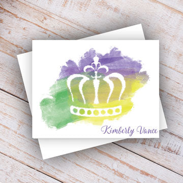 Purple, Green & Gold Watercolor Crown Personalized Note Cards