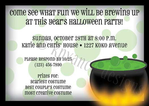 Witch's brew pot cauldron halloween invitation/announcement