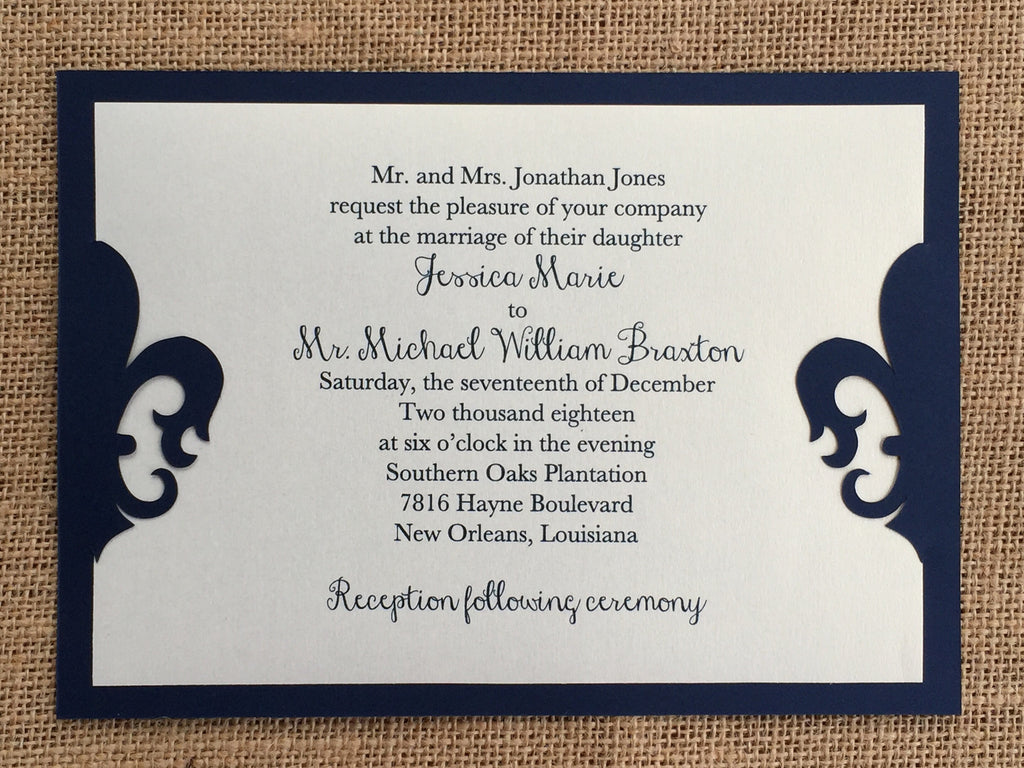 die cut fleur de lis layered invitation