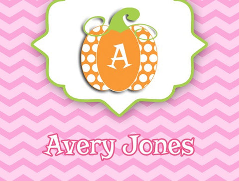 pink chevron, orange polka dot pumpkin personalized note card