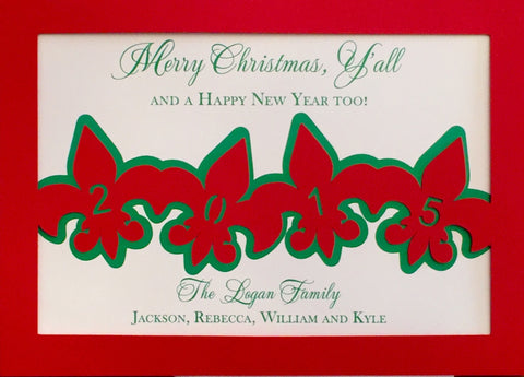 Die Cut fleur de lis New Orleans Christmas card