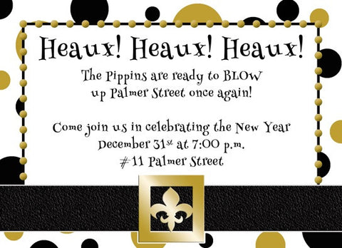 black and gold santa fleur de lis belt invitation