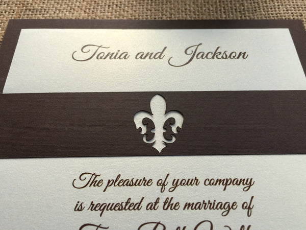 Fleur de Lis Band Layered Wedding Invitation
